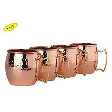 A29® Moscow Mule 100 % Solid Pure Copper Unlined Mug /Cup (16-Ounce/Set of 4, Hammered) with BONUS Shot Glass and Free Recipe Booklet