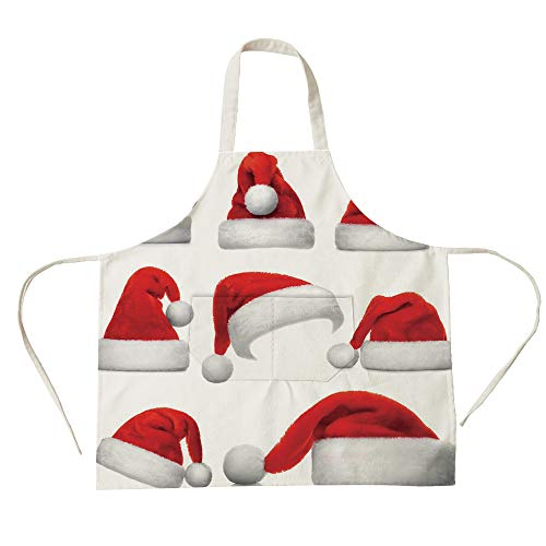 3D Printed Cotton Linen Big Pocket Apron,Christmas,Set of Classical Santa Claus Hats Xmas New Year Celebration Tradition Party Theme,Red White,for Cooking Baking Gardening]()