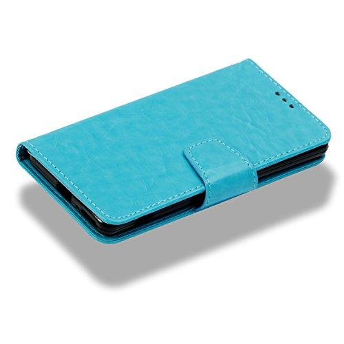 GLADOOR SONY XA Hülle, Simulation Leder Flip Case Wallet Cover, Handschlaufe, Magnetverschluss, Kartensteckplätze, Eingebaute TPU Soft Case für SONY XA (Rot