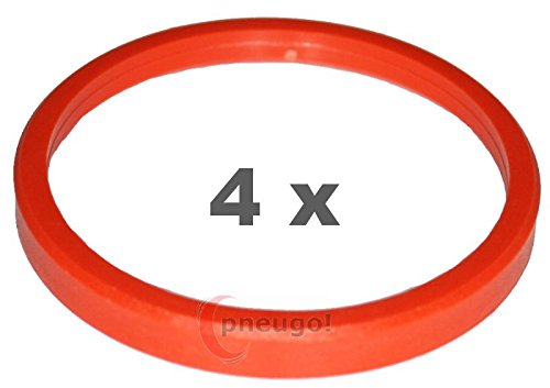 4/ x Anillo Central pl/ástico 76.0/ mm a 66.6/ mm naranja