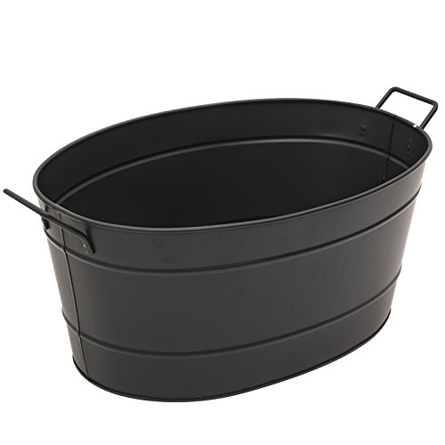 Achla Designs Black Oval Galvanized Steel Tub (Fire Bucket Wood)