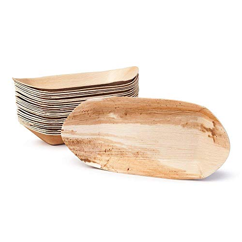 Boat Bamboo (Palm Leaf Burger Boat  - Environmentally Disposable Tableware | 25 Pieces | 6 x 12 Inches | Bamboo Style | Biodegradable & Compostable)