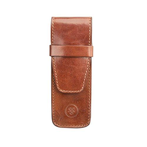 Maxwell Scott Luxury Tan Luxury Pen Case (Pienza) - One Size