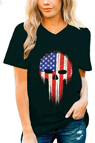 July 4th Retro Style American Flag T-Shirt Ringer Distressed Vintage Tee(2, S) ()