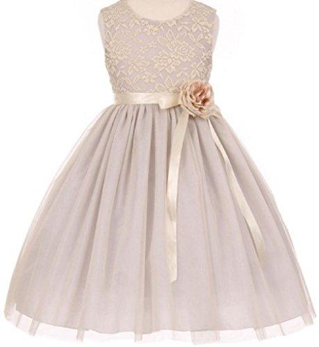 Little Baby Girls Lace Taffeta Jeweled Belt Sash Flowers Girls Dresses Silver S