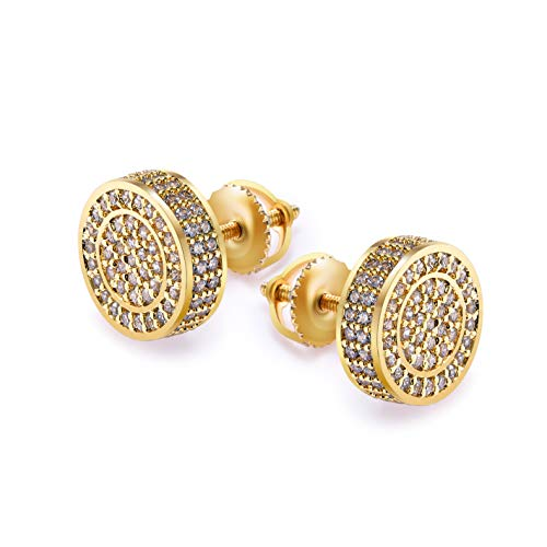 Gold Earrings For Men And Ladies With Screw Back Hip Hop Earrings Men Gold Plated With Cubic Zircon Round (Champaign) (Hip Earrings)