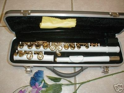 Flute with case, white