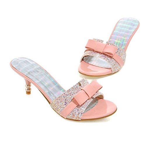TIAN Moda Sandalias Y Zapatillas Modelos Femeninos De Punta Abierta Simples Pink