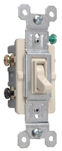 Legrand - Pass & Seymour 663LAGU Three Way Toggle Switch 15-Amp 120-volt Grounded Light, (120v Almond)