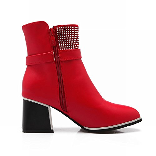 Latasa Womens Fashion Buckle Strap Zipper Chunky Mid-heel Ankle-high Dress Boots Red bLbIS