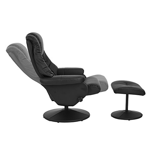 Aingoo Recliner Lounge Chair with Footrest Ottoman Leather PU Leisure Chair for Living Rest Entertainment Room,Black