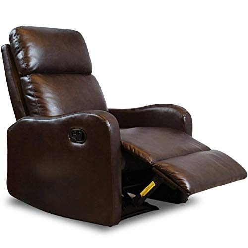 (BONZY Chair Contemporary Leather Recliner for Modern Living Room Chocolate)