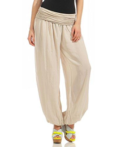 ZARMEXX Damen Pumphose Pluderhose Harem-Stil Sommerhose all over Print Freizeithose Aladinhose Hose One Size Uni-beige AHj3CyDF