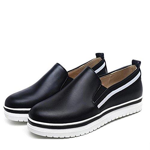 Femmes T¨ºte Chaussures Confortable Slip L Loisirs Flat Blanc black Noire Chaussures ¨¦tudiant Printemps Non Chaussures YC Pwqzw75