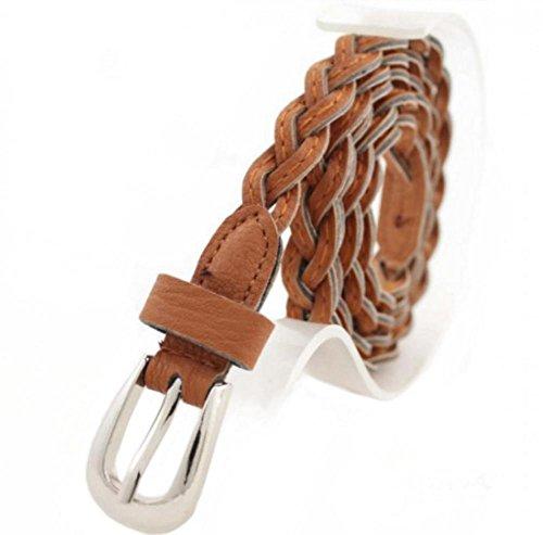 Women Braided Belts Faux Leather Woven Belt For Girls Fashion Waist Buckle Belt Strap - Braided Waist Belt