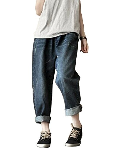 Women's Pants women jeans Casual Wide Leg Pants Elastic Waist Pockets Denim Pants