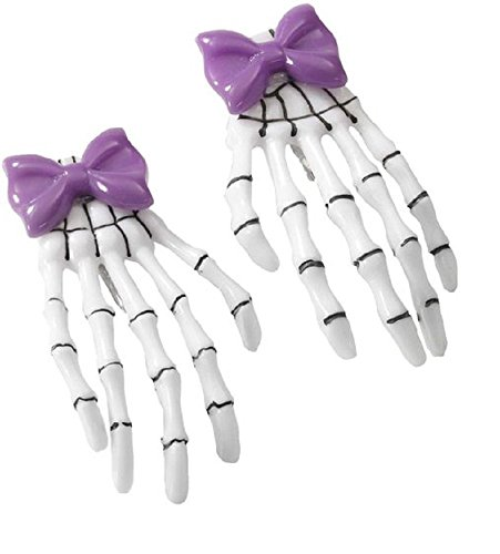 Forum Novelties Women's Skeleton Hands Bow Clip-Purple, -