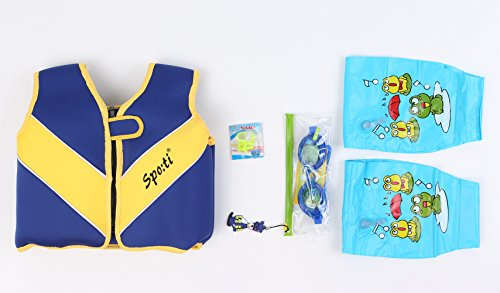 Titop 2017 Infant Baby Life Jacket Children Life Vest Navy Blue Small for for 22-33 Lbs+swimming Glasses & Swimming Floatation Sleeves & Swimming Nose Protector& Belt-line ear plugs by Titop