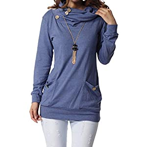 levaca Womens Long Sleeve Cowl Neck Casual Sweatshirts Tunic Tops with Pockets