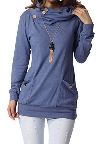 #1 BEST SELLING TOP RATED WOMEN'S COWL NECK SLIMMING LONG SLEEVE TOP! (10 COLORS)
