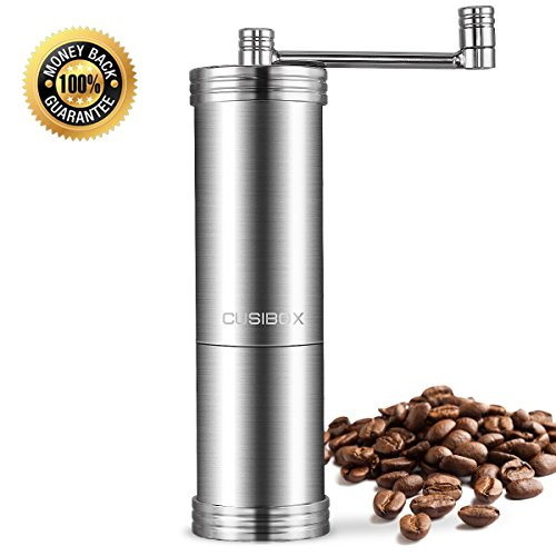 Coffee Grinder Stainless Steel Manual Coffee Grinder with Premium Adjustable Stainless Steel Conical Burr Mill Precision Brewing Grinder for Home and Traveling by CUSIBOX