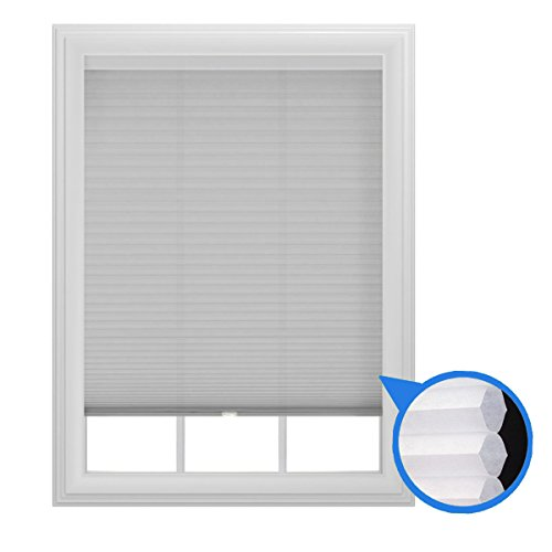 The Miro Brand 48″ x 64″ Light Filtering Cellular Window Shade, Cordless, Trimmable (White)