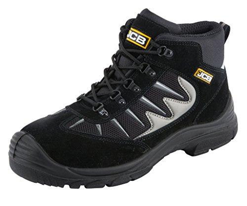 JCB 3CX/B de seguridad botas de trabajo negro o gris (tamaños 7-12) entrenador estilo de excursionista negro