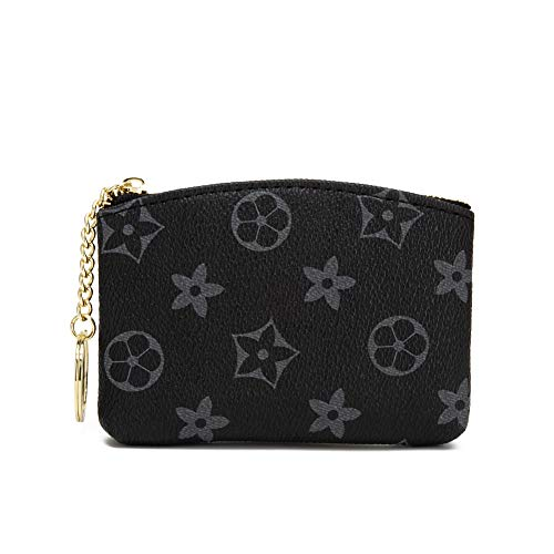 - LLGGVE Checkered Zipper Coin Purse PU Vegan Leather waller Mini Key Ring Wallet Card Case (Black Flower)