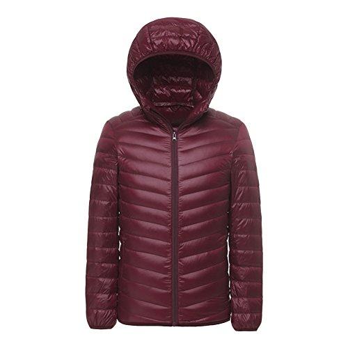 Jacket Mens Puffer Hooded Lightweight LPATTERN Dark Down Red Packable Coat BIgq6nWwS