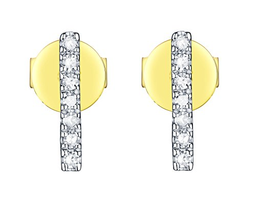 (Prism Jewel 0.11 Carat G-H/I1 Natural White Diamond Hinged With Notched Post Circle Earrings, 14k Yellow Gold )