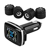 TPMS Wireless Tire Pressure Monitoring System Car Real-time LCD Display Cigarette Lighter Auto Tire Pressure Gauge Wheels Temperature Battery Voltage Alarm with 4 External Sensors and USB Charger Port
