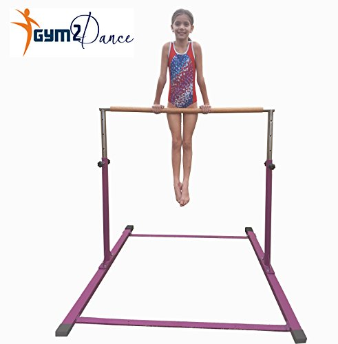 "Gymnastics Bar Adjustable 3' to 5' Model DX Barney Purple, 1.5"" Dia. Solid Hardwood, Very Sturdy From Gym2dance"