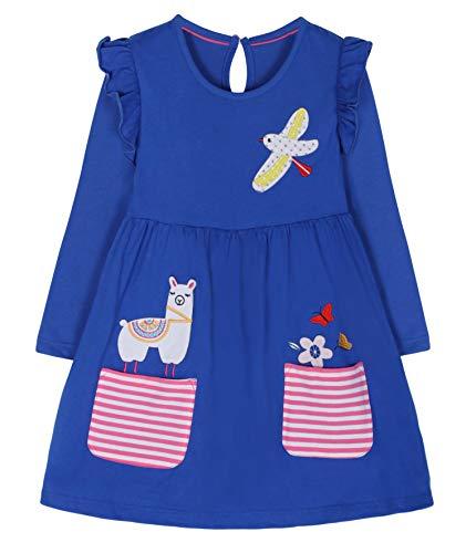 Fiream Cartoon Cotton Kids Dresses Longsleeve Toddler Girls Casual Fashion Dresses(JP005,4T/4-5YRS) for $<!--$16.99-->