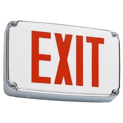 (Compact Wet Location Exit Sign with Red Letters)