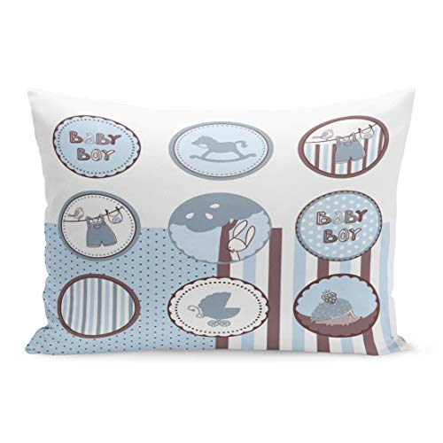 Emvency Throw Pillow Covers Cupcake Blue Baby Boy Circle Labels Brown Pattern Welcome Pillow Case Cushion Cover Lumbar Pillowcase Decoration for Couch Sofa Bedding Car Home Decor 20 x 26 inchs