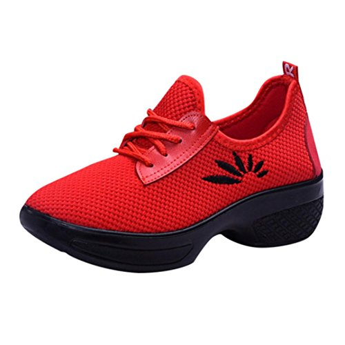 VEMOW Sports Outdoor Shoes for Women, Trainers Mary Janes Cute Lace-up Flats Flip Flops Thongs Espadrilles Wedge Running Walking Dance, Increasing Mesh Embroidery Wedges Shoes Red