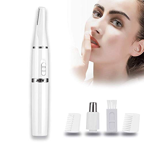 JYSW Nose Hair Trimmer for Men Women 2 in 1 Head Battery-Powered Water Resistant Professional Wet/Dry for Nose Ear Hair,Eyebrows and Beard,White,Pocket Size (Nose Brow Trimmer)