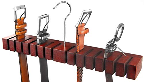 HOUNDSBAY Block Solid Mahogany Belt Holder Hanger & Belt Rack Organizer (Mahogany)