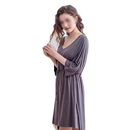(Daydreamer's secret life sleepwear Nightdress Female Summer Seven-Point Sleeve Long Loose Pajamas Casual XL Home Service-Brown Gray,XXL)