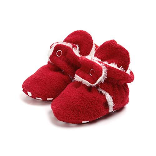 (Sakuracan Baby Boys Girls Cozy Fleece Booties with Non Skid Bottom Infant Shoes Winter Socks (12cm(6-12 Months), B-Red))