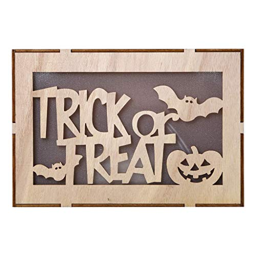 Halloween Decoration Wooden LED Night Light Light Up Battery Operated Table Light Halloween Christmas Valentine's Day Children's Day Gift - Bats+Pumpkin -
