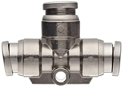 "SMC KQG2 Series Stainless Steel 316 Push-to-Connect Tube Fitting, Union Tee, 1/4"" Tube OD"