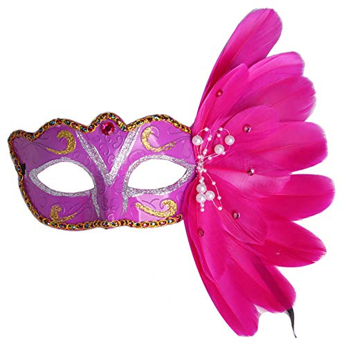 Making up Masquerade Christmas Halloween Plastic Feathers Painted Feather Masks Birthday Party (Rose -