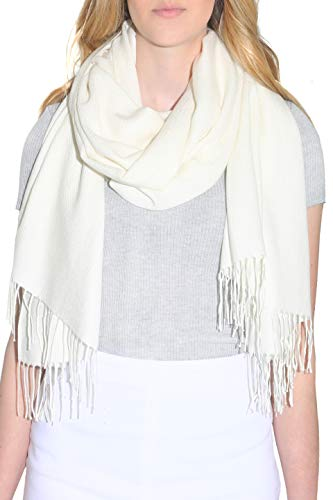 Pure Cashmere Blend Pashmina Wrap for Women - Fashion Shawl with Fringe (28 x 74 inches) (Beige Cashmere Blend)