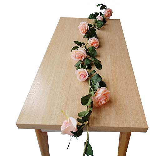 DCONMEE 5.9ft Artificial Flower Rose Vine Pink Silk Flower Rose Garland Hanging Baskets Wedding Arch Doorways Wall Backdrop Decor Indoor Outdoor ()