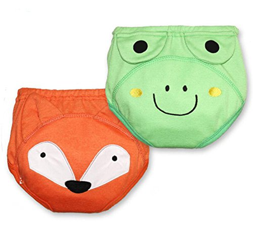 Fairy Baby 2 Pack Waterproof Cartoon Training Pants Baby Cloth Diaper(Fox & Frog,Size 90)