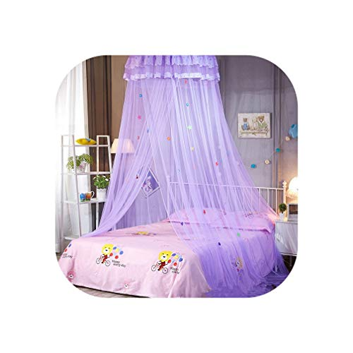 New Children Elegant Tulle Bed Dome Bed Netting Canopy Circular Pink Round Dome Bedding Mosquito Net for Twin Queen King Bed,Purple ()