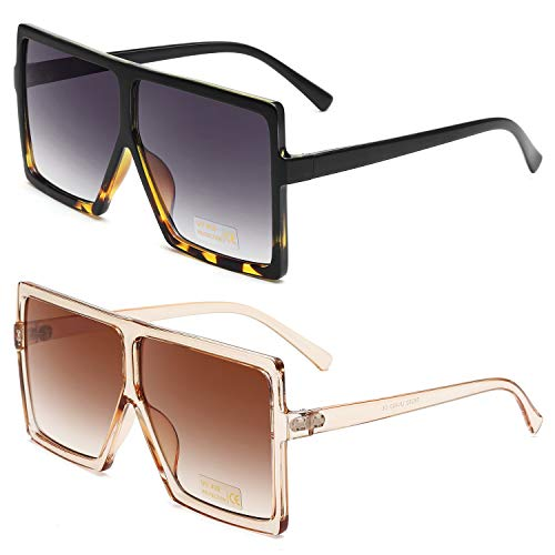 GRFISIA Square Oversized Sunglasses for Women Men Flat Top Fashion Shades (2 PCS- leopard- orange, ()