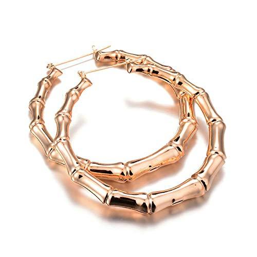 Eiffy Punk Bamboo Joint Earrings for Women Big Heart Hoop Earring Geometric Circle Star Vintage Round Earrings (Gold)
