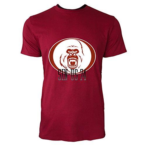 SINUS ART® Wütender Affenkopf Herren T-Shirts in Independence Rot Fun Shirt mit tollen Aufdruck